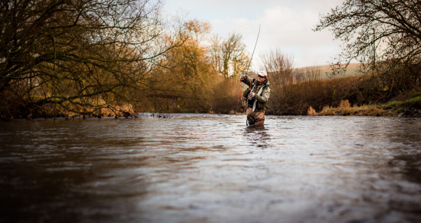Fly fishing in Autumn on the River Usk, photographed for renowned Welsh Pro Kim Tribe