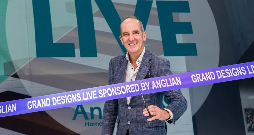 Kevin McCloud cuts the opening ribbon at Grand Designs Live 2017